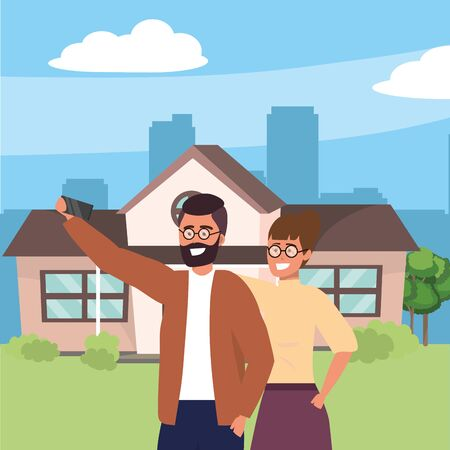 Millennial couple using smartphone taking selfie in front of house porch background cityscape vector illustration graphic design