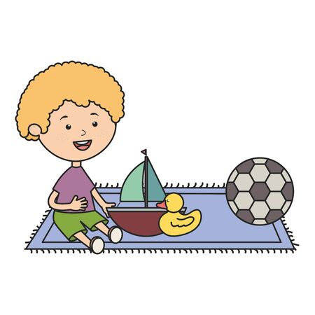 cute little boy with sailboat and ducky vector illustration design