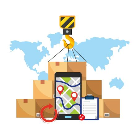 box with crane hook, cellphone with map and location pointer and checklist vector illustration graphic design