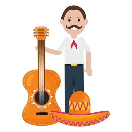 mexican man with guitar character vector illustration design