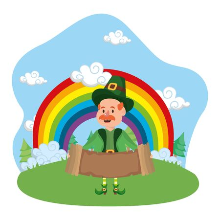 st patricks day leprechaun at nature park cartoon vector illustration graphic design