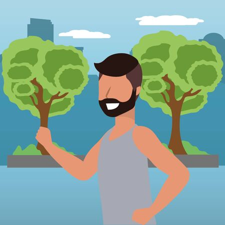 fitness sport train man running at outdoor scene cartoon vector illustration graphic design