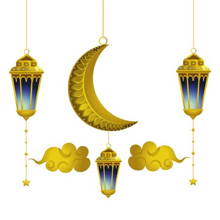 hanging lamp moon and clouds icon cartoon vector illustration graphic design