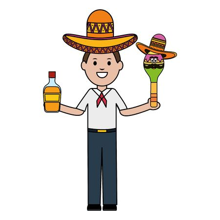 mexican man with tequila and maraca character vector illustration design