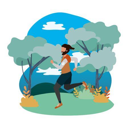 fitness sport train man running at outdoor scene cartoon vector illustration graphic design