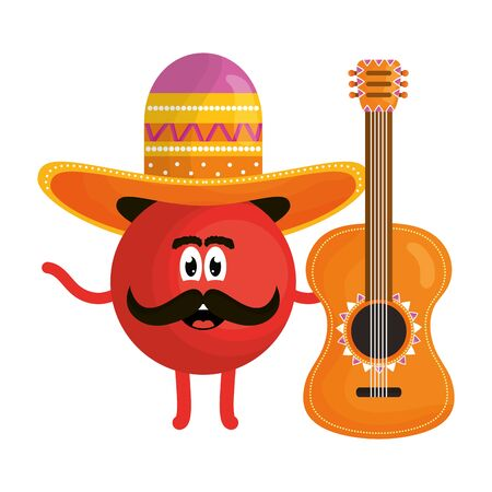 mexican emoji with hat and guitar character