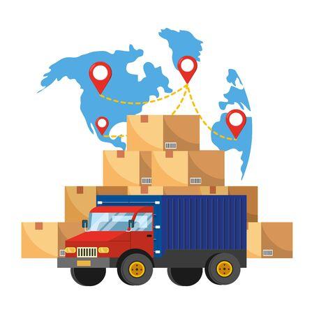 camión y mapa Ilustración de vector