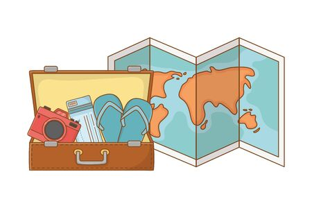 Tourist trip summer travel open suitcase with camera plane tickets sandals and folded map adventure exploration vector illustration graphic design
