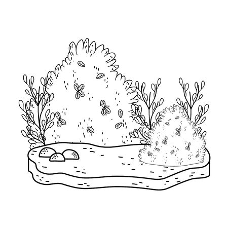 beautiful garden bush landscape scene vector illustration design