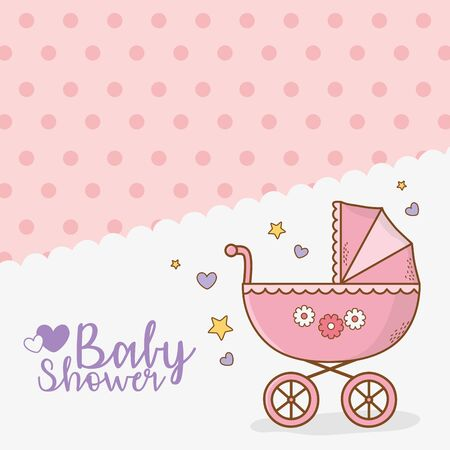 baby shower card with pink pram