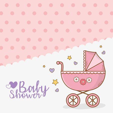 tarjeta de baby shower con cochecito rosa