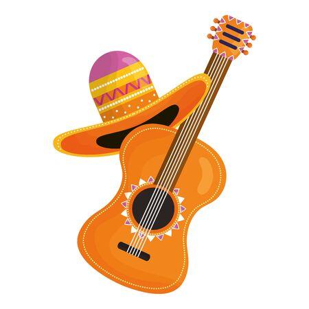 guitar with mexican hat Ilustración de vector