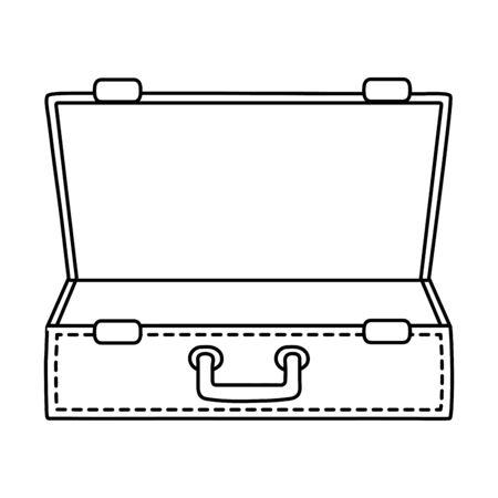 Voyage d'été voyage touristique valise ouverte vide avec poignée aventure exploration isolé vector illustration graphisme
