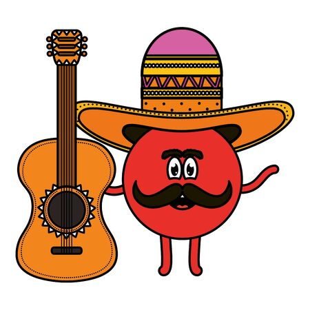 mexican emoji character with guitar vector illustration design Illustration