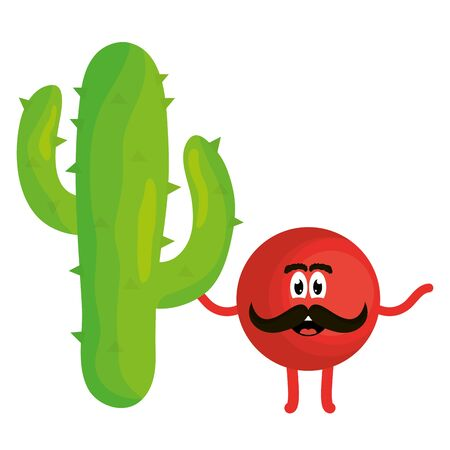 mexican emoji with cactus character Illustration