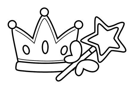 crown and wand icon cartoon black and white vector illustration graphic design