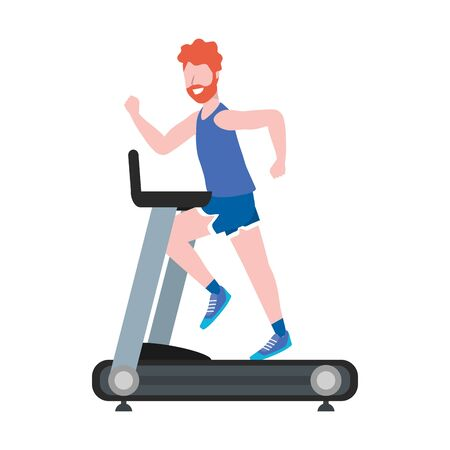 fitness exercise man running over treadmill workout healthy fit lifestyle cartoon vector illustration graphic design 向量圖像