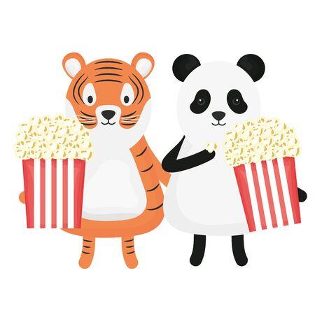 cute tiger and bear panda with pop corn childish vector illustration design