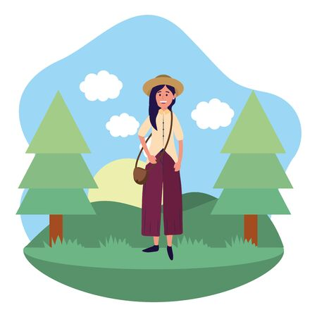 young happy woman at nature park cartoon vector illustration graphic design Illustration