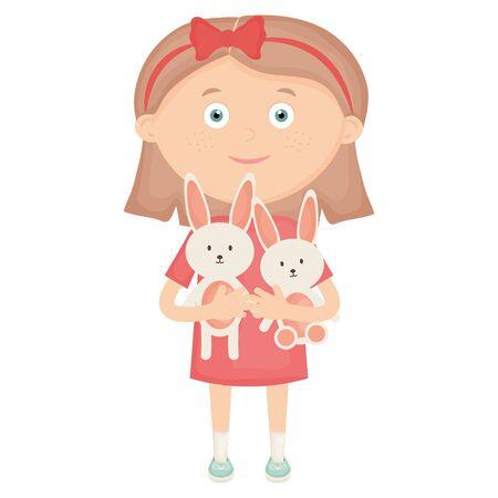cute little girl with rabbit stuffed vector illustration design