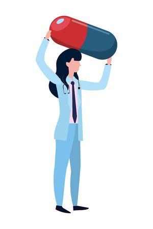 healthcare medical doctor woman holding pill cartoon vector illustration graphic design Illustration