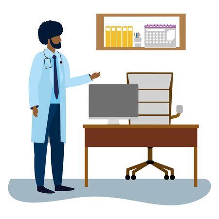 healthcare medical doctor man at doctors office cartoon vector illustration graphic design