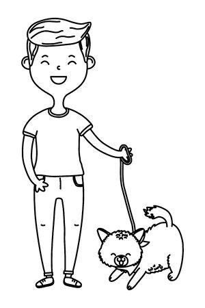 childhood happy child boy with little animal pet cartoon vector illustration graphic design