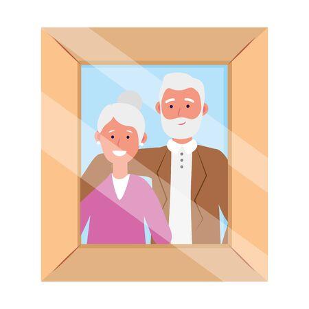 elderly couple avatar cartoon character photo frame vector illustration graphic design Illustration