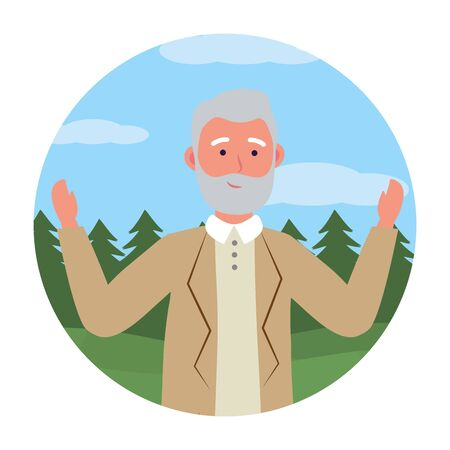 old man avatar cartoon character isolated round icon park landscape vector illustration graphic design Zdjęcie Seryjne - 125339891