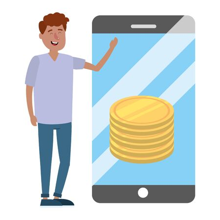 young man with smartphone and saving money coins cartoon vector illustration graphic design