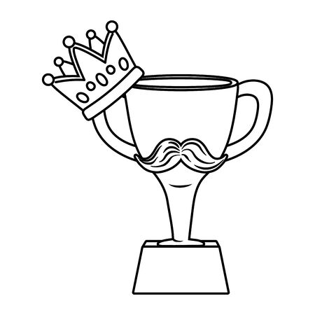 trophy with moustache and crown icon cartoon black and white vector illustration graphic design Иллюстрация