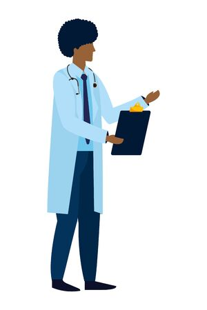 healthcare medical doctor man holding documents folder cartoon vector illustration graphic design