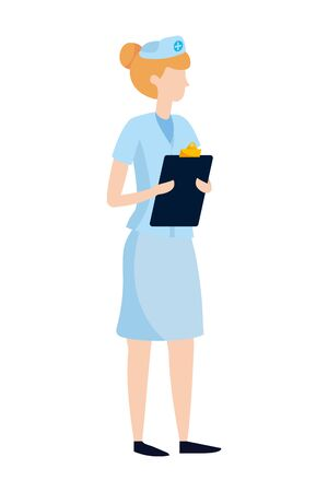 healthcare medical doctor woman holding documents folder cartoon vector illustration graphic design