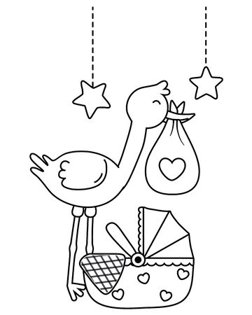 stork holding a clothbag and cradle with a blanked and stars hanging vector illustration graphic design Иллюстрация