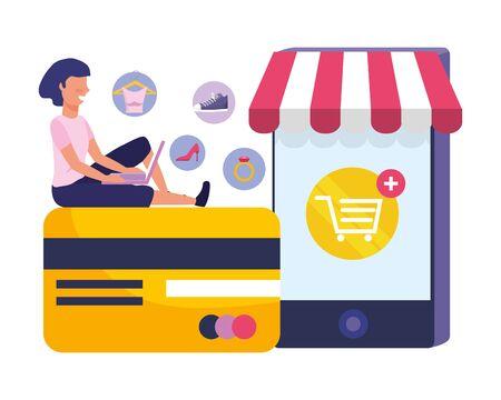 Woman shoppong online design, Store ecommerce media market and internet theme Vector illustration Çizim