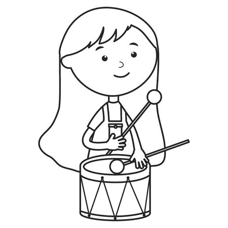 cute little girl playing with drum vector illustration design
