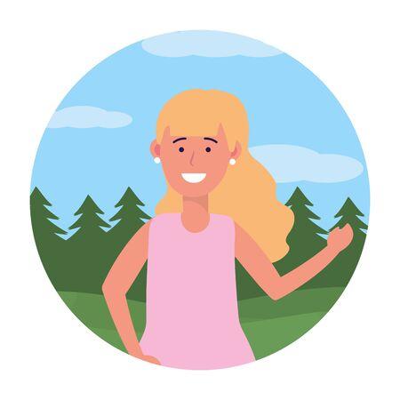 child girl portrait avatar cartoon character outdoor rural landscape round icon vector illustration graphic design