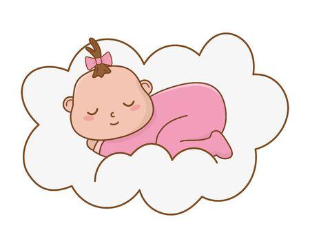 cute baby shower baby cartoon vector illustration graphic design
