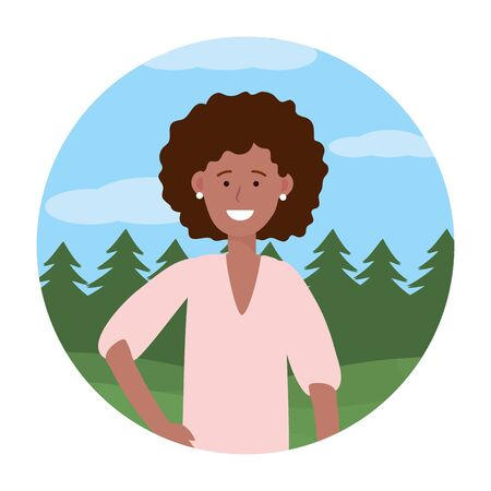 child girl portrait avatar cartoon character outdoor rural landscape round icon vector illustration graphic design