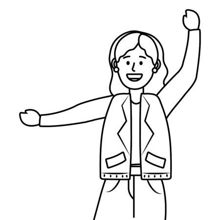 young happy woman raised hands cartoon vector illustration graphic design Çizim