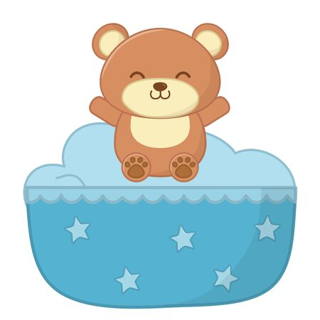 cradle decorated with stars and toy bear smiling vector illustration graphic design