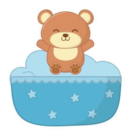 Wiege verziert mit Sternen und Spielzeugbär lächelndes Vektorillustrationsgrafikdesign