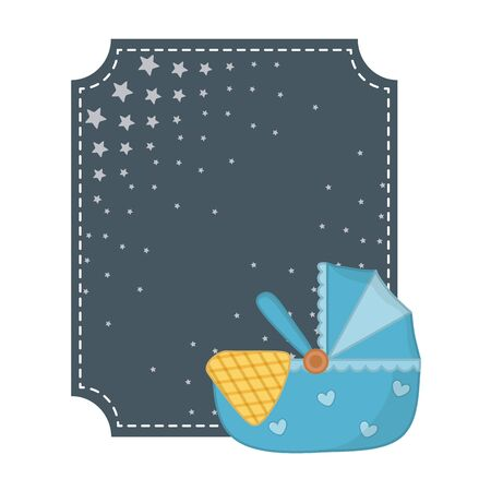 square frame with stars and cradle with a blanked vector illustration graphic design