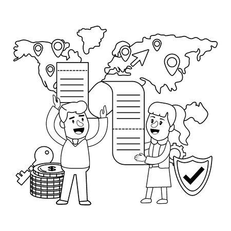 Banking teamwork financial planning black and white Illustration