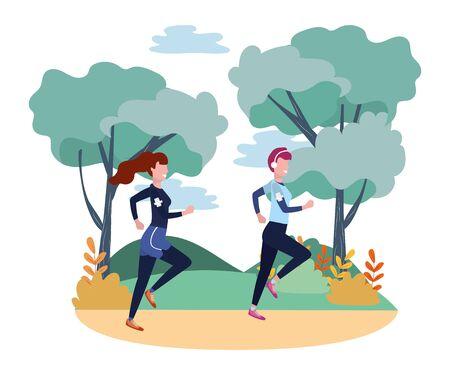 women running with sportwear avatar cartoon character rural landscape vector illustration graphic design  イラスト・ベクター素材