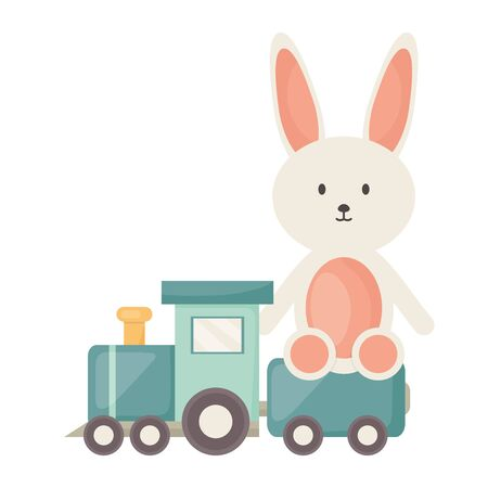 Little train with bunny toys square frame and birthday elements