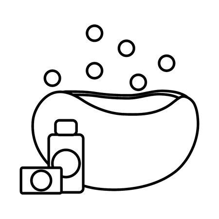 Pet shampoo bottle and soap in bathtub