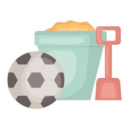 sand bucket with shovel and soccer balloon vector illustration design