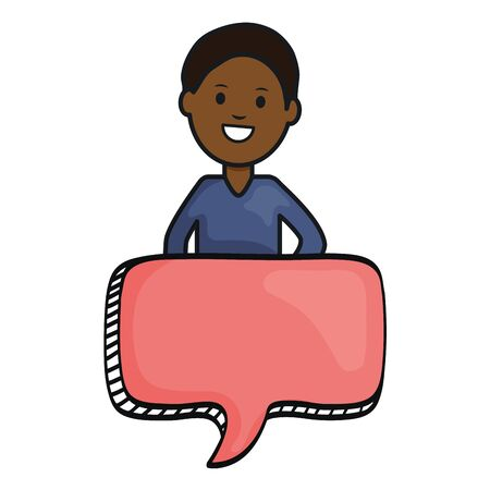 afro young man with speech bubble avatar character vector illustration design