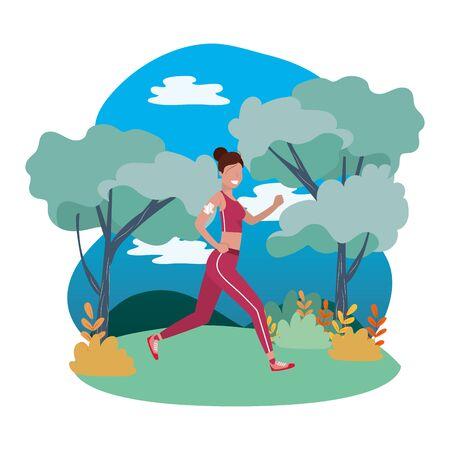 woman running with sportswear avatar cartoon character rural landscape vector illustration graphic design